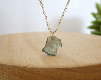 Raw Sapphire Necklace, Green Natural Sapphire Pendant, September Birthstone, Rough Sapphire Jewelry, Gift for her