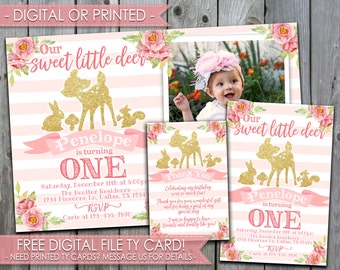 Deer Birthday Invitation, Deer Invitation, Deer Invite, Our Little Deer, Floral, Flowers, 1st Birthday, First Birthday, Pink and Gold, #514