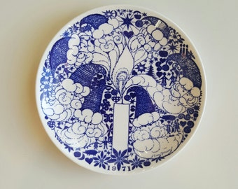 Beautiful Gustavsberg Sweden Christmas plate no.1 year 1971 wall hanging designed by Sven Jonsson