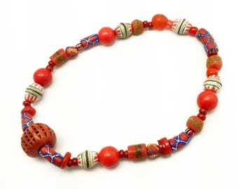 Artisan strand of Krobo beads, 16 inches full strand, Red Ghana glass, powder glass beads, jewelry supplies