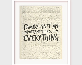 Bedroom Decor, Family Quote, Family Isn't An Important Thing, It's Everything, Michael J Fox Quote, Instant Download