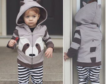 4T Raccoon Hoodie with ears and tail, zip-up Jacket, Raccoon Jacket, Animal Sweatshirt, Hoodie with Ears , Kids jacket,  Raccoon outfit