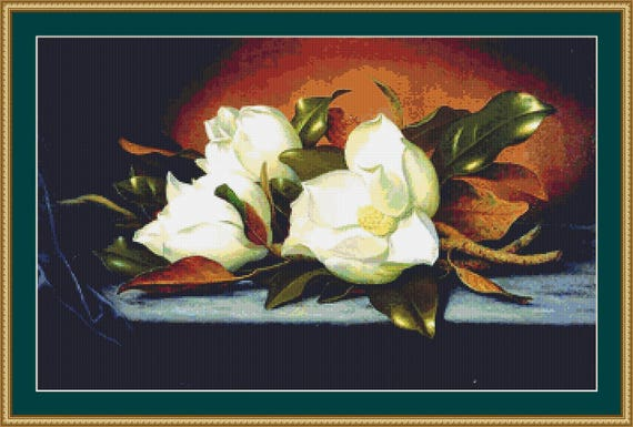 Giant Magnolias Cross Stitch Pattern /Digital PDF Files /Instant downloadable