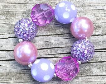 Purple Chunky Bracelet, Toddler Bracelet, Chunky Necklace, Bubblegum Jewelry, Purple Polka Dot Bracelet, Lavender Chunky Bracelet