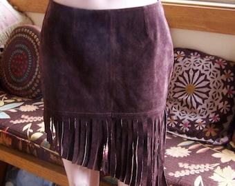 Fringe Leather skirt, Brown Fringe Skirt, Pocahontas skirt, Tribal Leather skirt, Festival skirt, size M / L