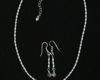 Original Artist Created Pearl Necklace with Sterling Silver Circles Pendant and Earrings