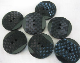 Black Button,  Large Black Button,  Lot of 6  checkerboard design