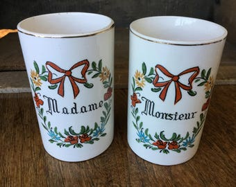"""Madame and Monsieur, Mr and Mrs cups, floral design, 4"""" tall"""