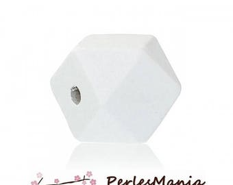 White 20 mm S1181231 polygons wooden beads