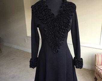 Vintage Black Knit Ruffle Collar Ruffle Cuff California Dress 1970