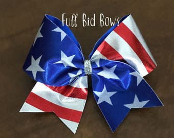 Cheer Bow - American Flag Red White and Blue