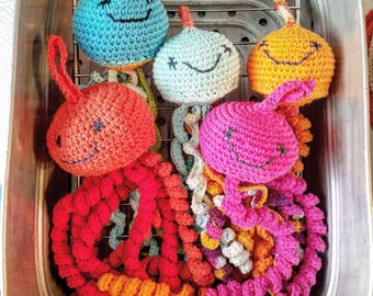 Crocheted Cotton Amigirumi Jellyfish Octopus Hand Dryer Machine Washable Handmade