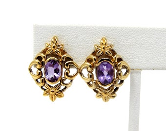 Vintage Gold over Sterling Silver Amethyst Post Earrings