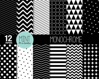 Black and White Scrapbooking Paper, Monochrome Digital Paper, Patterned, Printable Sheets, stripes chevron background - BUY 2 GET 1 FREE!