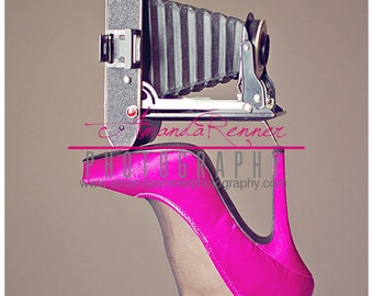 Fine Art Photography - 12x18 Canvas Gallery Wrap - Agfa vintage camera on hot pink high heel
