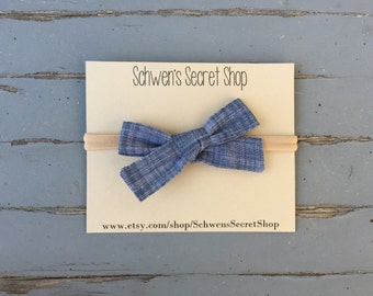 Chambray fabric bow, hand tied bow, baby girl headband, nylon headband, baby headband, school girl bow, baby bow headband, baby hair bow