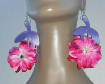 Gorgeous Multi Color Wooden Flower Earrings, Embellished with Pink and White Silk Flowers, Large Earrings, Women's Earrings, Fashion Earring