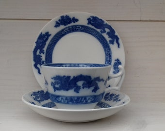 "Pretty and rare ""Royal Cauldon"" blue dragon trio:cup, saucer and side/cake plate. Oriental dragon and peony design."