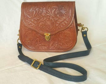 Vintage Tooled Leather Valley of the Moon Western Bag // 1970s // Hippie Deluxe