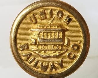 Excellent Antique Brass Union Railway Co Uniform Button ~ Bronx NY Electric Trolley Car Picture ~ Extra Quality Backmark ~ 5/8 inch 15mm