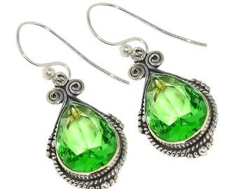 """Green Amethyst 925 Sterling Silver Earring 1.77"""""""
