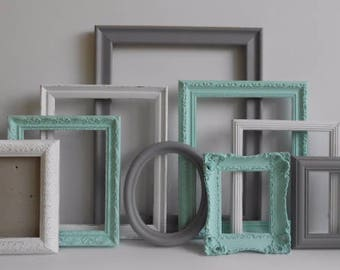 Custom Picture Frames Set - Gray Grey White & Aqua - Vintage Ornate Farmhouse - Baby Nursery - Shabby Chic - Distressed - Gallery Wall