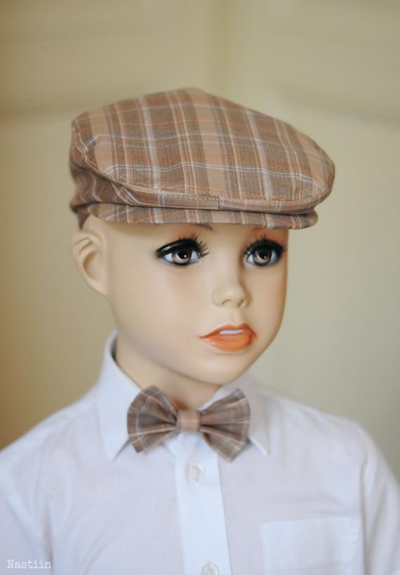 Toddler boy newsboy hat and bow tie Baby boy newsboy cap Flat 87e11815e0a