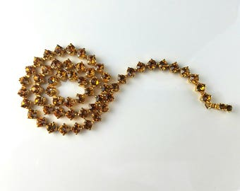 Amber Rhinestone Choker Necklace, Vintage