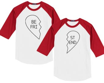 Best Friends Valentine (or any occasion!) Heart Raglan Baseball Style T Shirt sizes YXS to Adult Coordinating Family Set OUTLINE HEARTS