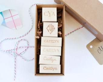 Custom Monogram Personalized Name Stamp Set - BEST VALUE