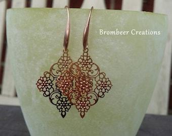 Delicate mandala earrings Rosé gold, mandala earrings, mandala earrings, boho style jewelry, boho, boho earrings gold, Rosé gold earrings