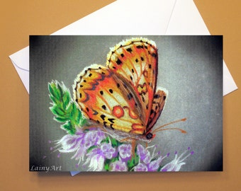 Art Greeting Card  - Created from Original ACEO drawing for Charity - Blank Notecard - 4x6 - Orange Butterfly - Day 317