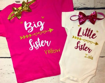 Big sister little sister shirts/arrow personalized girls clothing set/sibling onesie set/Baby shower sibling gift/sisters custom shirts