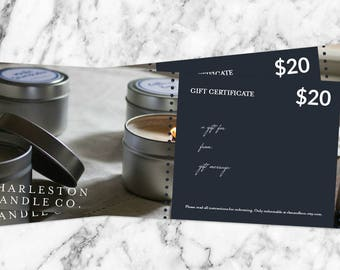 Gift Certificate   Charleston Candle Co. Digital Gift Certificate