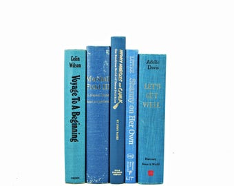 Cerulean Blue Decorative Books, Antique Book Set, Wedding Centerpiece, Old Book Decor, Book Collection, Country Chic, Home Decor farmhouse