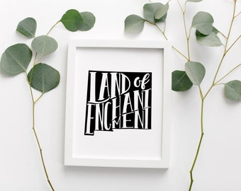 """NEW MEXICO Hand Lettered Travel Poster • """"Land Of Enchantment"""" Slogan • Modern Geographic Travel Poster • New Mexico Travel Map Wall Art"""