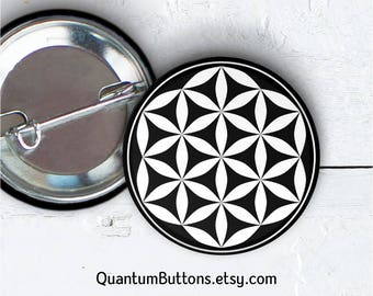 """Flower of Life Button or Magnet, 1.5"""" Pin-back Button, Sacred Geometry Pin, Math Pin, Geometric Badge, Flower of Life Gift, Meditation  067"""
