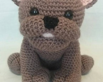 Crochet Dark brown French Bulldog - Soft toy French Bulldog - French Bulldog gift - French Bulldog - Handmade French Bulldog toy
