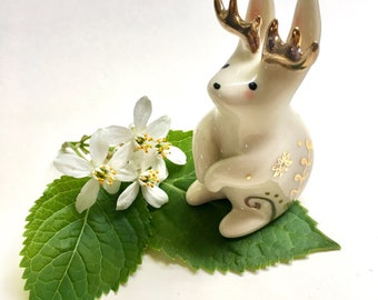 RESERVED- Hand sculpted ceramic Jackalope with gold embellishments.
