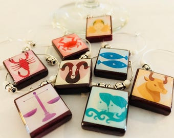 Zodiac Signs Set of 8 Custom Scrabble Tile Wine Glass Charms