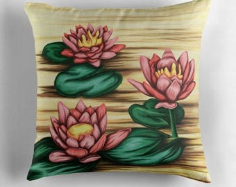 Water lily - Print pillow cover painting pastel yellow background-light green pink water lily Lotus pattern