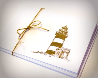 Lighthouse Nautical Blank Cards Folded Set of 5 hand stamped teacher gift with envelopes seaside masculine for men