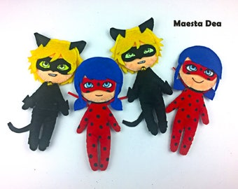 Miraculous Ladybug-Plush plush Ladybug and Cat noir/Chat Noir