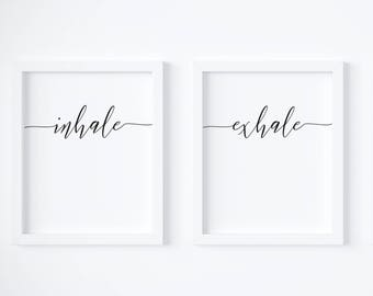 Inhale Exhale Print, Yoga Wall Art, Zen Print, Breathe Print, Pilates Poster, Minimalist Wall Art, Inhale Exhale Poster, Relaxation Gifts