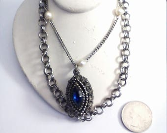 Vintage Silver Tone Fancy Fashion Necklace, 26 Inch Chain