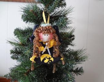 Iowa Hawkeyes - fabric angel ornament #6