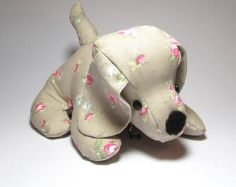 Taupe Rose Bud Doggy Doorstop, Home Decor, Handmade, Fabric, Doorstop, Home, Home and Garden, Free Postage