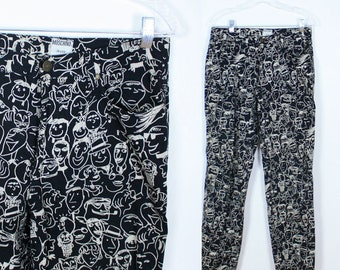 Vintage 90s MOSCHINO Jeans Face Print Pants-  Print All Over Goodness