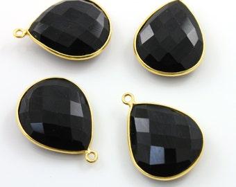 Natural Black Onyx, Bezel Pear Shape  Component, Gold Vermeil ,  21x25mm 1 Piece, (BZC3065)