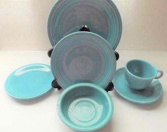 Original Turquoise Vintage Fiestaware 6 pc place setting
